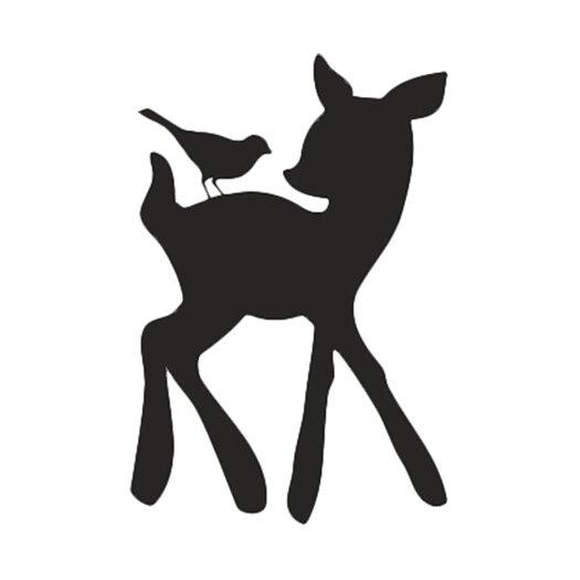 Forest Critter Chalkboard Deer and Bird Vinyl Wall Decal