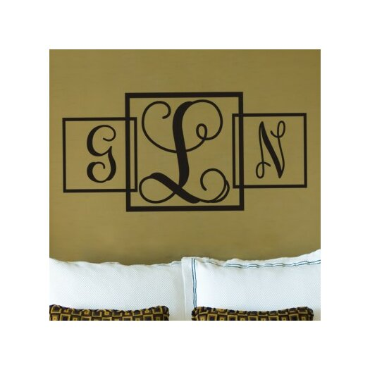 Alphabet Garden Designs Three Square Fancy Monogram Wall Decal