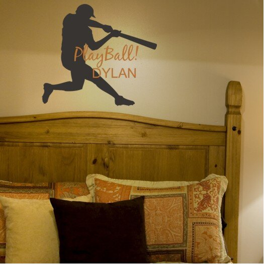 Alphabet Garden Designs Play Ball Personalized Wall Decal