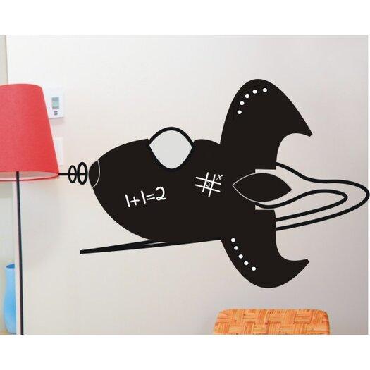 Alphabet Garden Designs Chalkboard Rocket Wall Decal