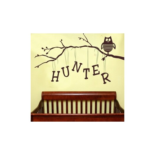 Alphabet Garden Designs Personalized Owl on Branch Boy Wall Decal