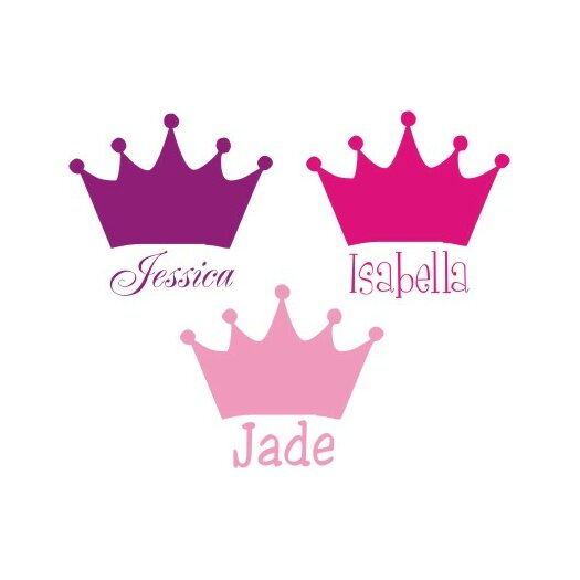 Alphabet Garden Designs Personalized Princess Crown Wall Decal