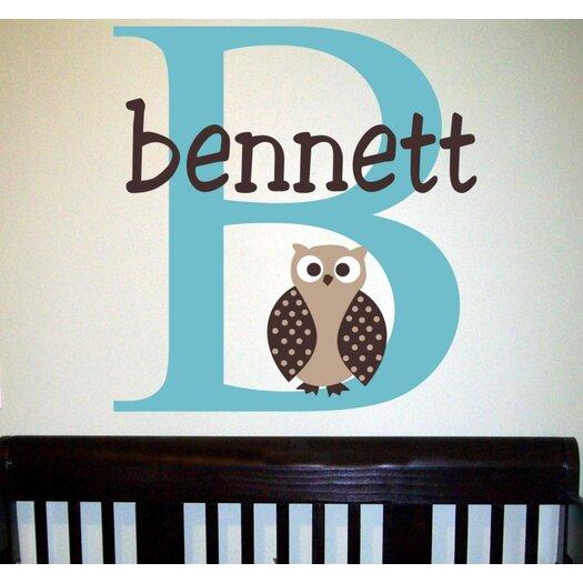 Alphabet Garden Designs Personalized Bennett's Owl Wall Decal