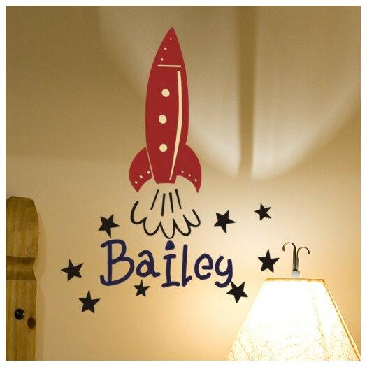 Alphabet Garden Designs Personalized Bailey's Rocket Wall Decal