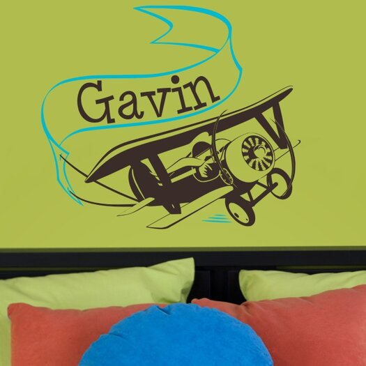 Adventure Plane with Personalized Banner Wall Decal