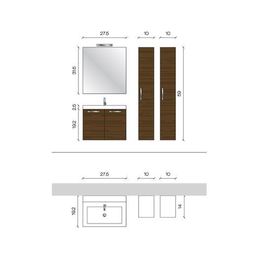 """Acquaviva Light 1 9.8"""" x 63.5"""" Surface Mount Medicine Cabinet"""