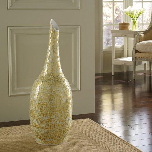 PoliVaz Mosaic Golden Shimmer Round Floor Vase