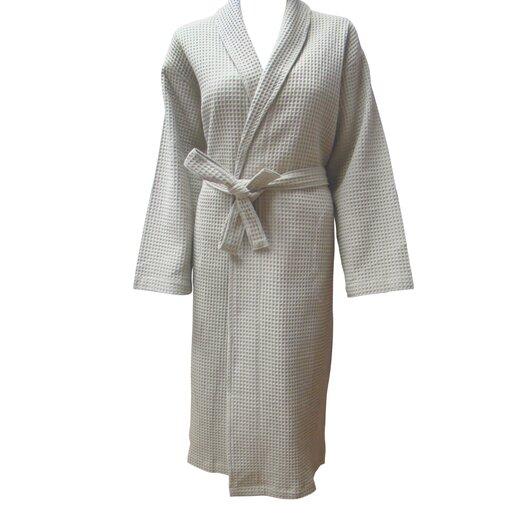 Textiles Plus Inc. 100% Cotton Unisex Shawl Collar Checked Waffel Weave Robe
