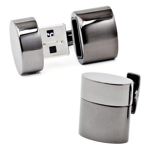 Ravi Ratan Gunmetal Oval USB Cufflinks (4GB)