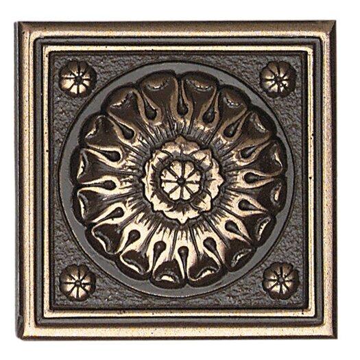"Daltile Metal Ages 2"" x 2"" Baroque Glazed Decorative Tile Insert in Polished Bronze"