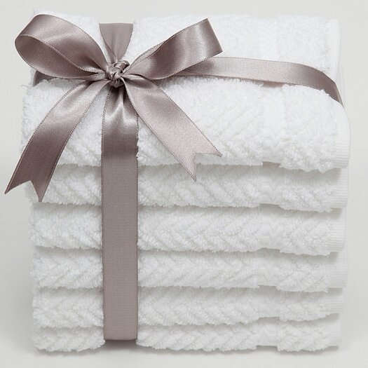 Linum Home Textiles Luxury Hotel & Spa Herringbone Weave 100% Turkish Cotton Wash Cloth (Set of 6)