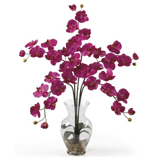 Nearly Natural Liquid Illusion Phalaenopsis Silk Orchid in Pink with Vase