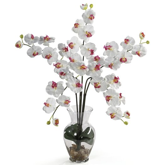 Nearly Natural Liquid Illusion Phalaenopsis Silk Orchid Arrangement in White
