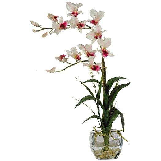 Nearly Natural Silk Dendobrium Arrangement with Glass Vase
