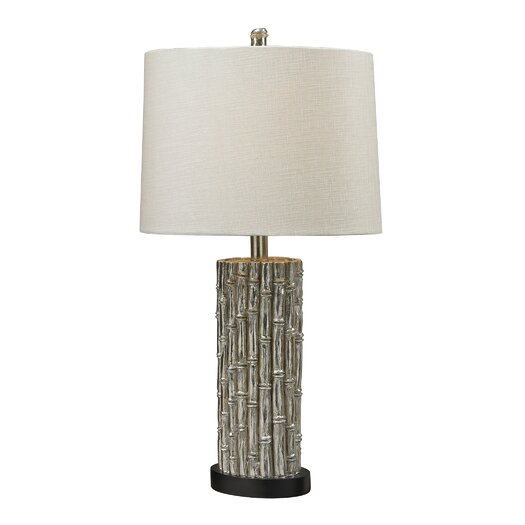 "Sterling Industries Silver Bamboo 27"" H Table Lamp with Drum Shade"