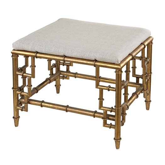 Sterling Industries Stool with Bamboo Frame and Linen Seat