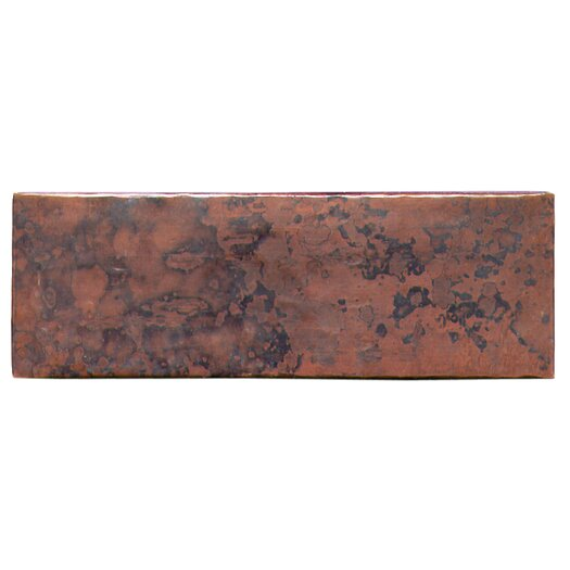 "D'Vontz Plain Hammered 6"" x 2"" Copper Border Tile in Dark Copper"