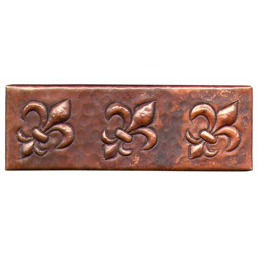 """D'Vontz Fleur De Lis 6"""" x 2"""" Copper Border Tile in Dark Copper"""