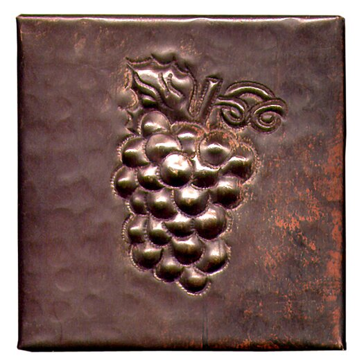 "D'Vontz Grapes 4"" x 4"" Copper Tile in Dark Copper"