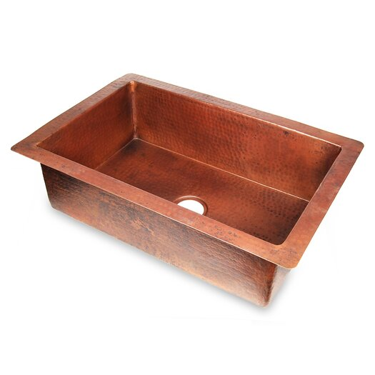 "D'Vontz Copper 33"" x 22"" Hammered Single Bowl Kitchen Sink"