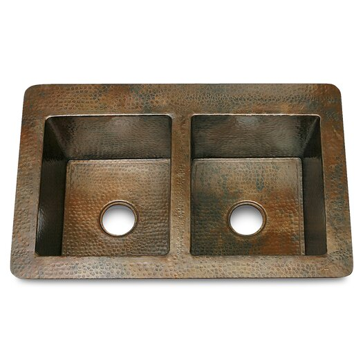 """D'Vontz Copper 36"""" x 22"""" Double Bowl 50/50 Hammered Kitchen Sink"""
