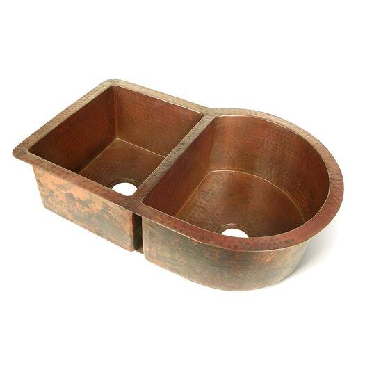 """D'Vontz Copper 33"""" x 22"""" Nautilus 60/40 Kitchen Sink"""