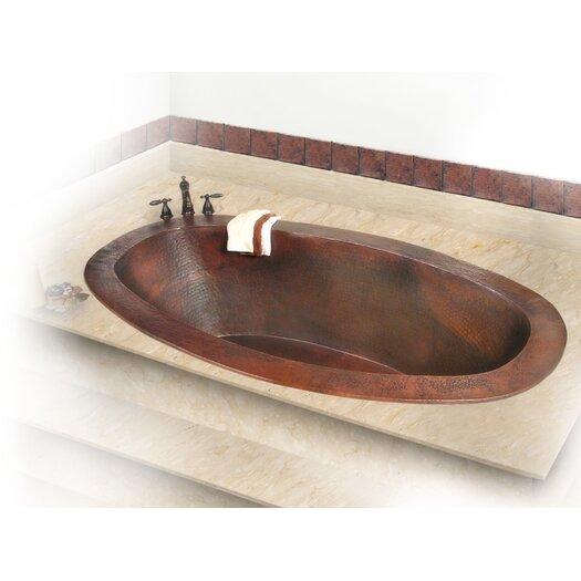 "D'Vontz Roberta Copper 67"" x 31"" Small Self-Rimming or Undermount Bathtub"