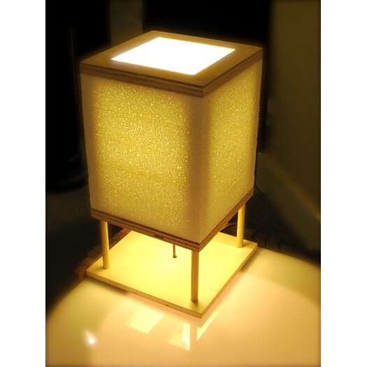"Shiner International Square 14"" H Table Lamp with Square Shade"