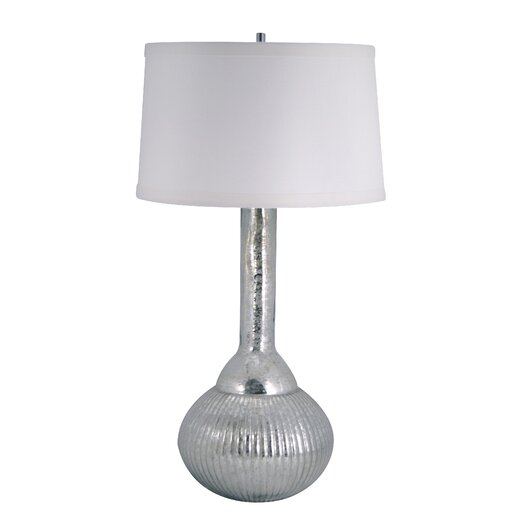 """Lamp Works Mercury Glass Fluted Bulb 33"""" H Table Lamp with Drum Shade"""