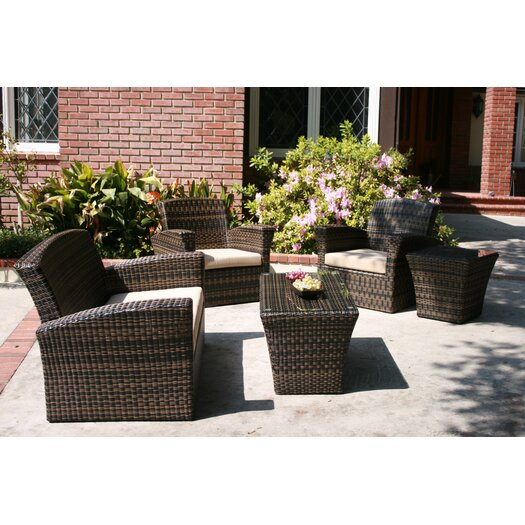 AIC Garden & Casual Maui 5 Piece Deep Seating Group with Cushions