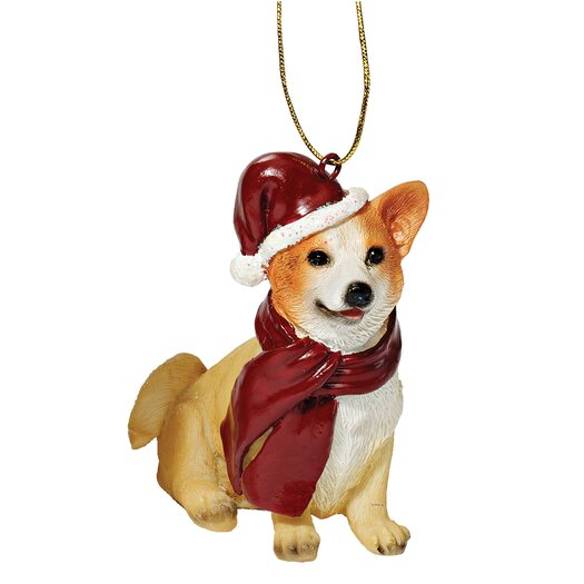 Design Toscano Welsh Corgi Holiday Dog Ornament Sculpture