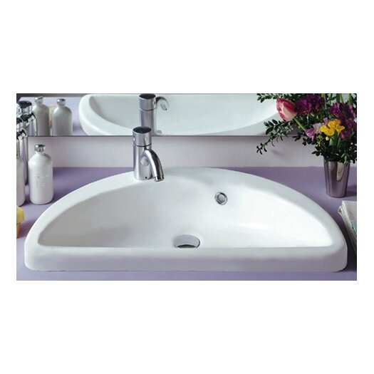 Whitehaus Collection China Mezza Luna Half Circle Bathroom Sink with Overflow