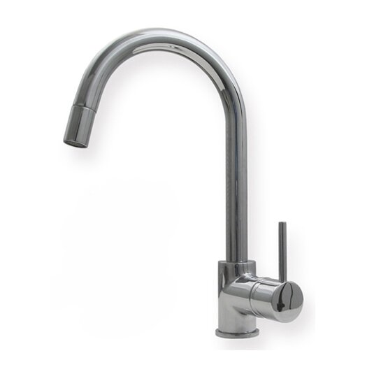 Whitehaus Collection Metrohaus One Handle Single Hole Luxe Gooseneck Swivel Kitchen Faucet with Lever Handle and Pull-out Spray