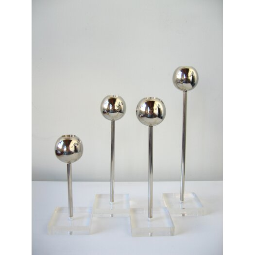 Boom Design OH Steel and Lucite 4 Piece Candlestick Holder Set