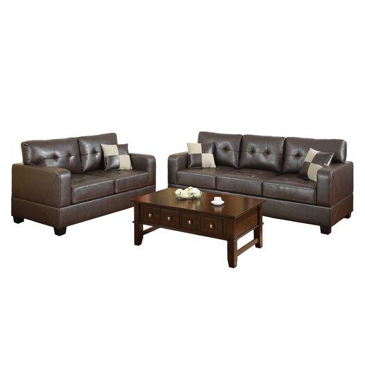 Poundex Bobkona Toni 2 Piece Leather Match Sofa and Loveseat Set
