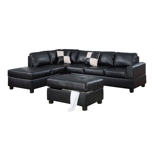 Poundex Bobkona 3 Piece Modular Sectional Set