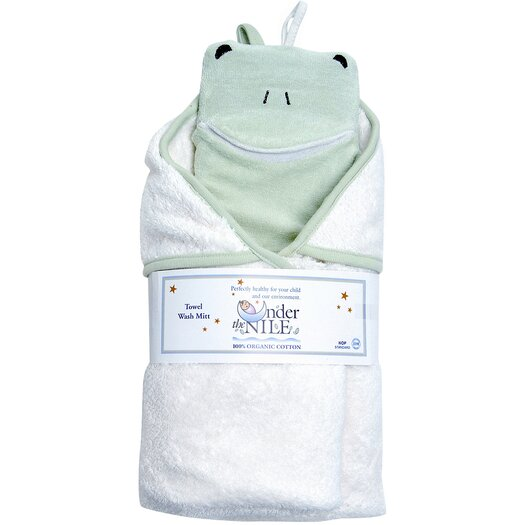 Under the Nile Bath Time Favorites Hooded Towel & Frog Wash Cloth Set