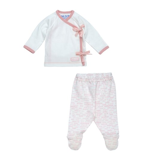 Under the Nile Hello Goodbye Print Side Tie Layette Set