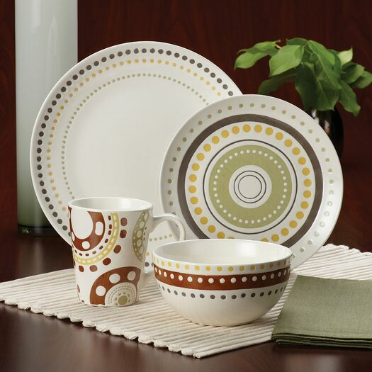 Rachael Ray Circles and Dots 16 Piece Dinnerware Set