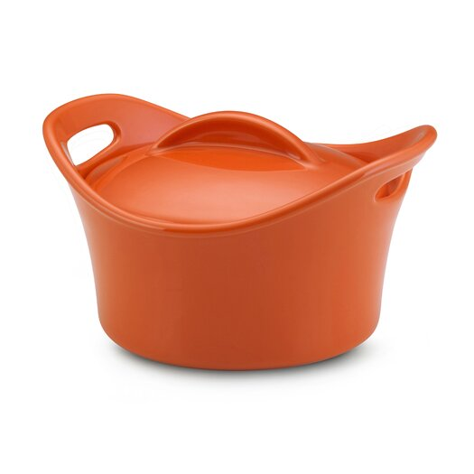 Rachael Ray Bubble and Brown 0.5 Qt. Stoneware Round Casserole