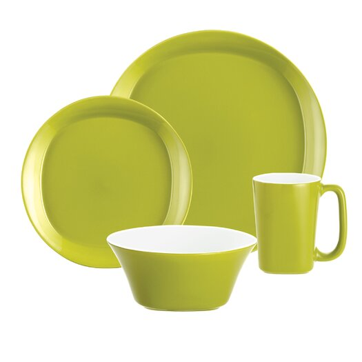 Rachael Ray Round and Square Dinnerware 4 Piece Place Setting Set