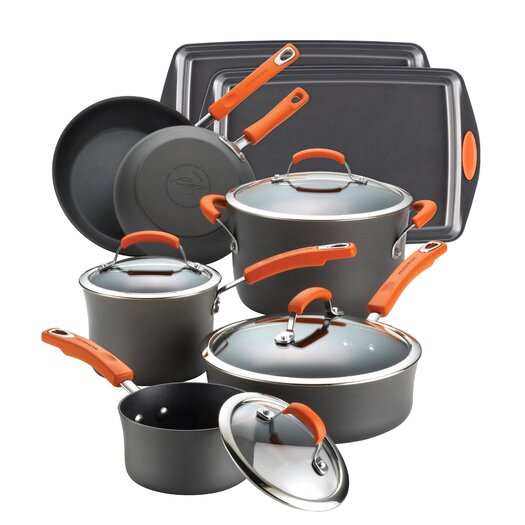 Rachael Ray Hard-Anodized Nonstick 12 Piece Cookware Set in Black