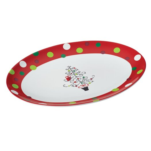 Rachael Ray Hoot's Decorated Tree Oval Platter