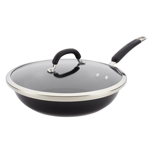 """Rachael Ray Stainless Steel Colors 12"""" Non-Stick Skillet with Lid"""