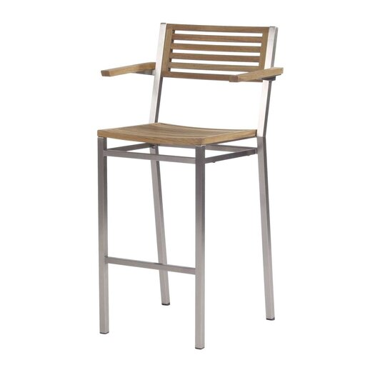 "Barlow Tyrie Teak Equinox 28.5"" Barstool with Arms"