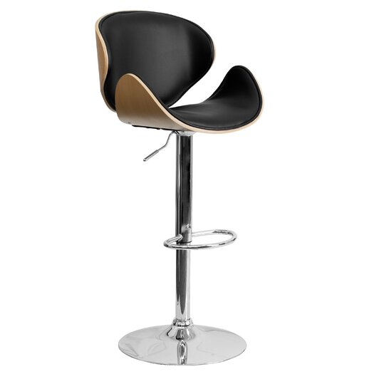 Flash Furniture Bar Stool with Curved Vinyl Adjustable Height Seat and Back