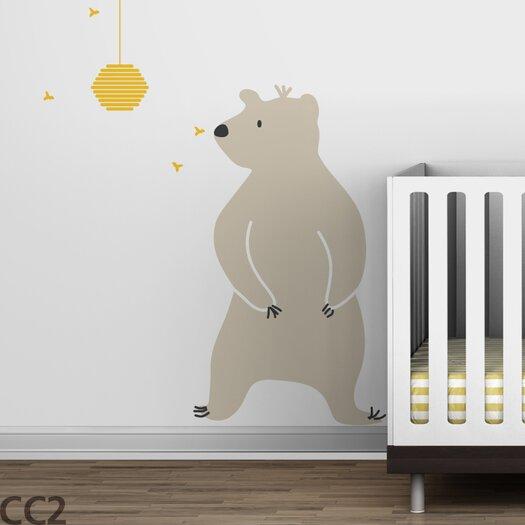 LittleLion Studio Baby Zoo Bear & Hive Wall Decal