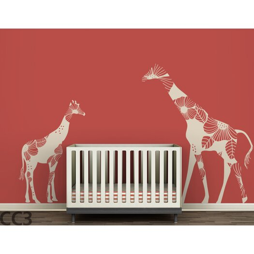 LittleLion Studio Fauna Mom & Baby Floral Giraffes Wall Decal