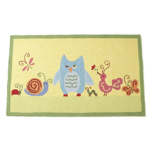 The Little Acorn Forest Friends Yellow Area Rug