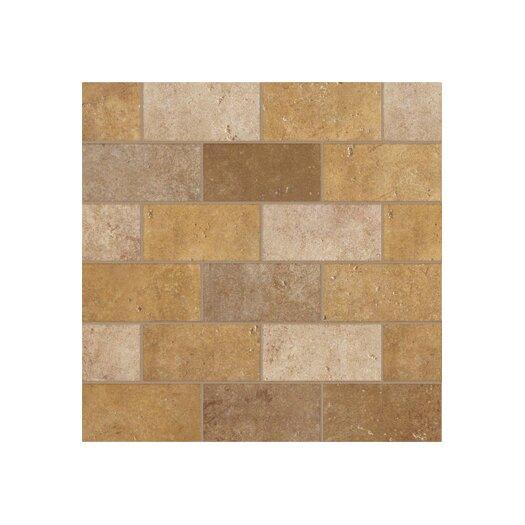 """Marazzi Walnut Canyon 4"""" x 2"""" Decorative Brick Mosaic in Golden"""